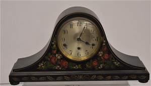 Vintage Mantle Clock with Folk Art Paint