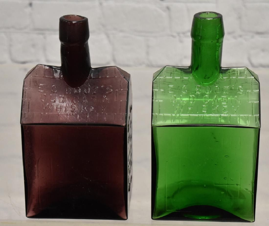 Two Booz's Old Cabin Whiskey Bottles