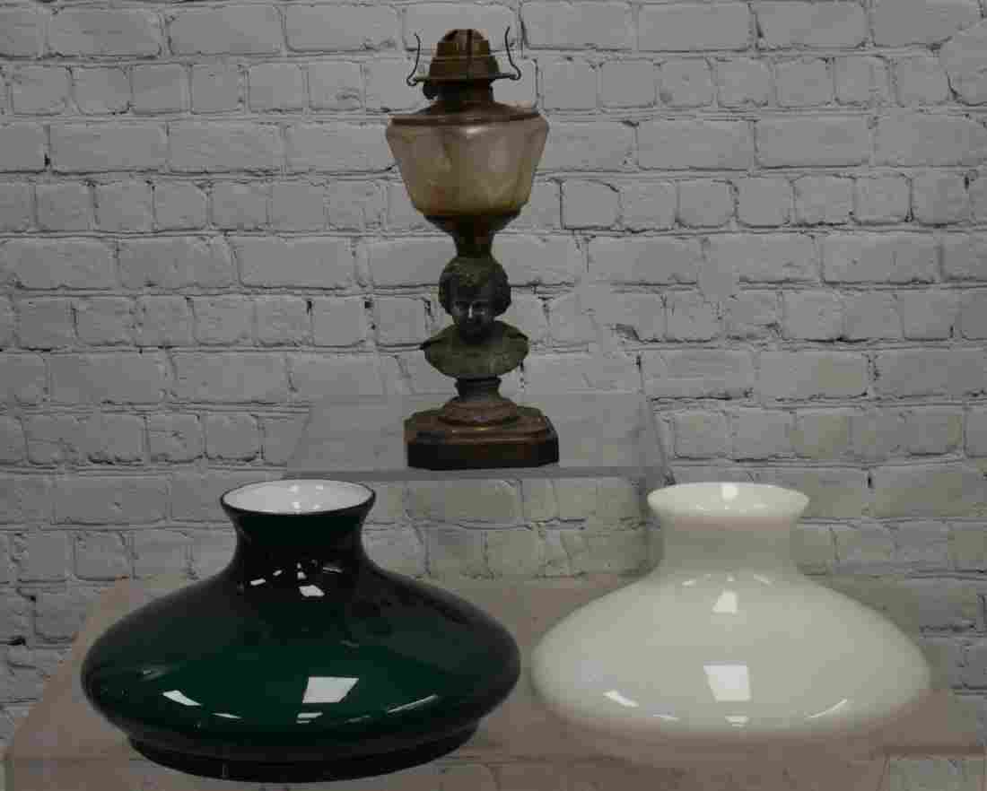 Figural Oil Lamp and Shades