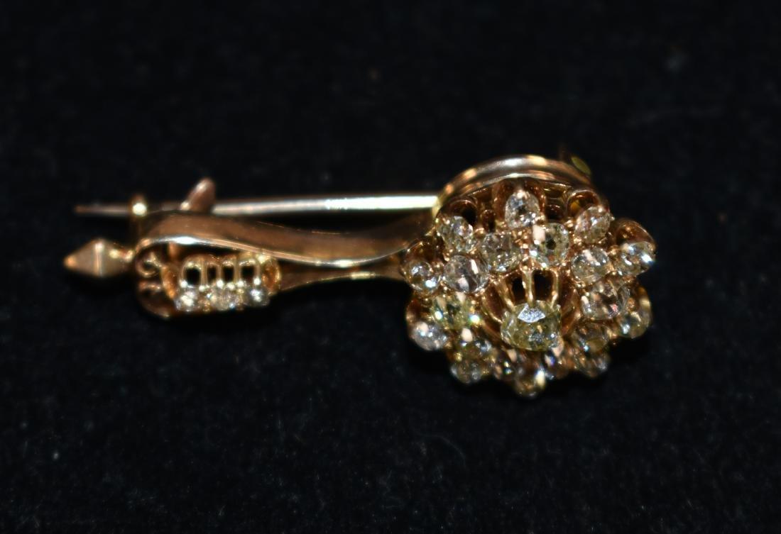 Early 14K Gold Diamond Pendant