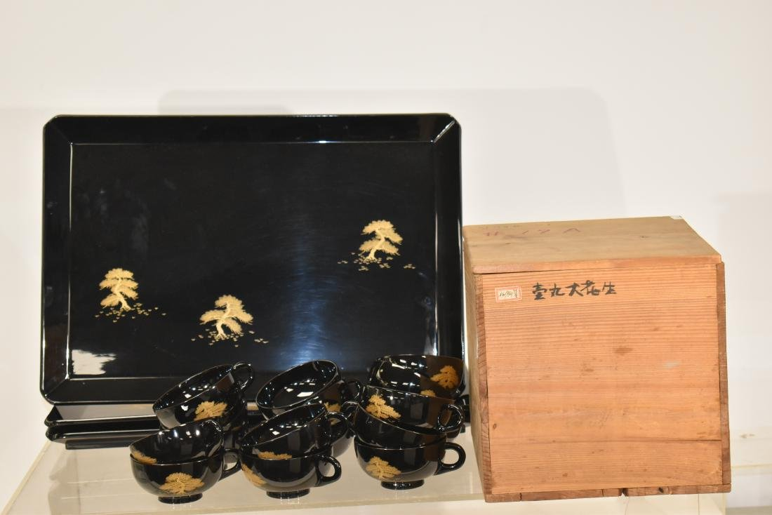 Japanese Lacquered Cups and Trays