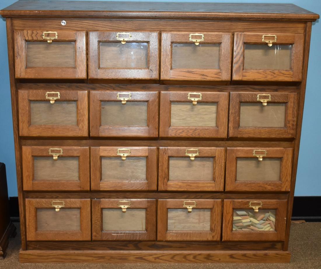 Sixteen Drawer Oak General Store Seed Cabinet