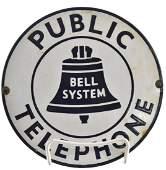 Vintage Enameled Bell Telephone Sign