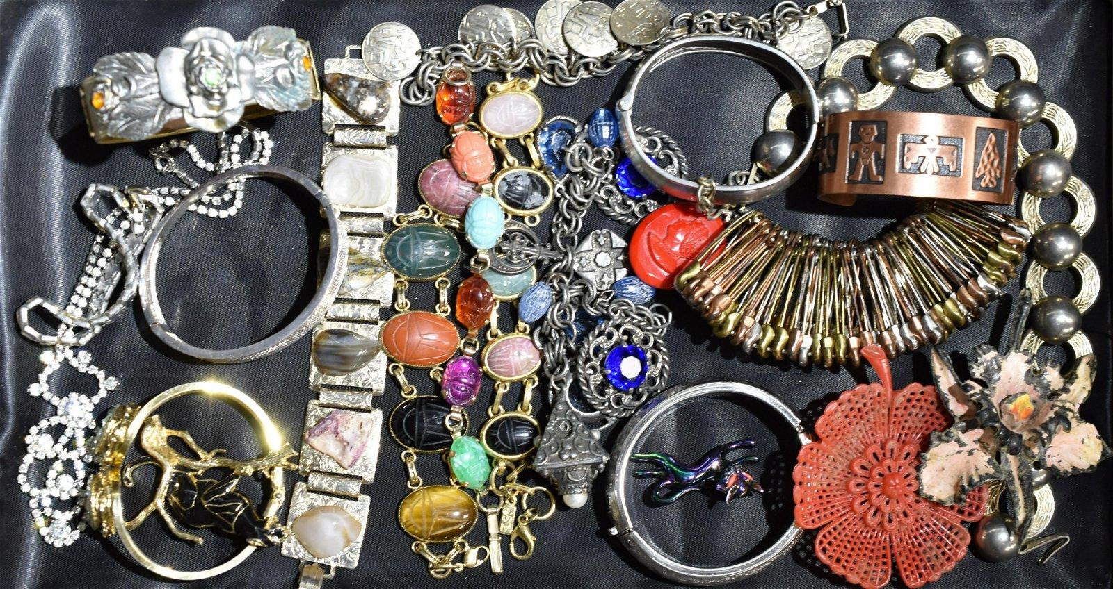 Large Vintage Brooch & Bracelet Grouping