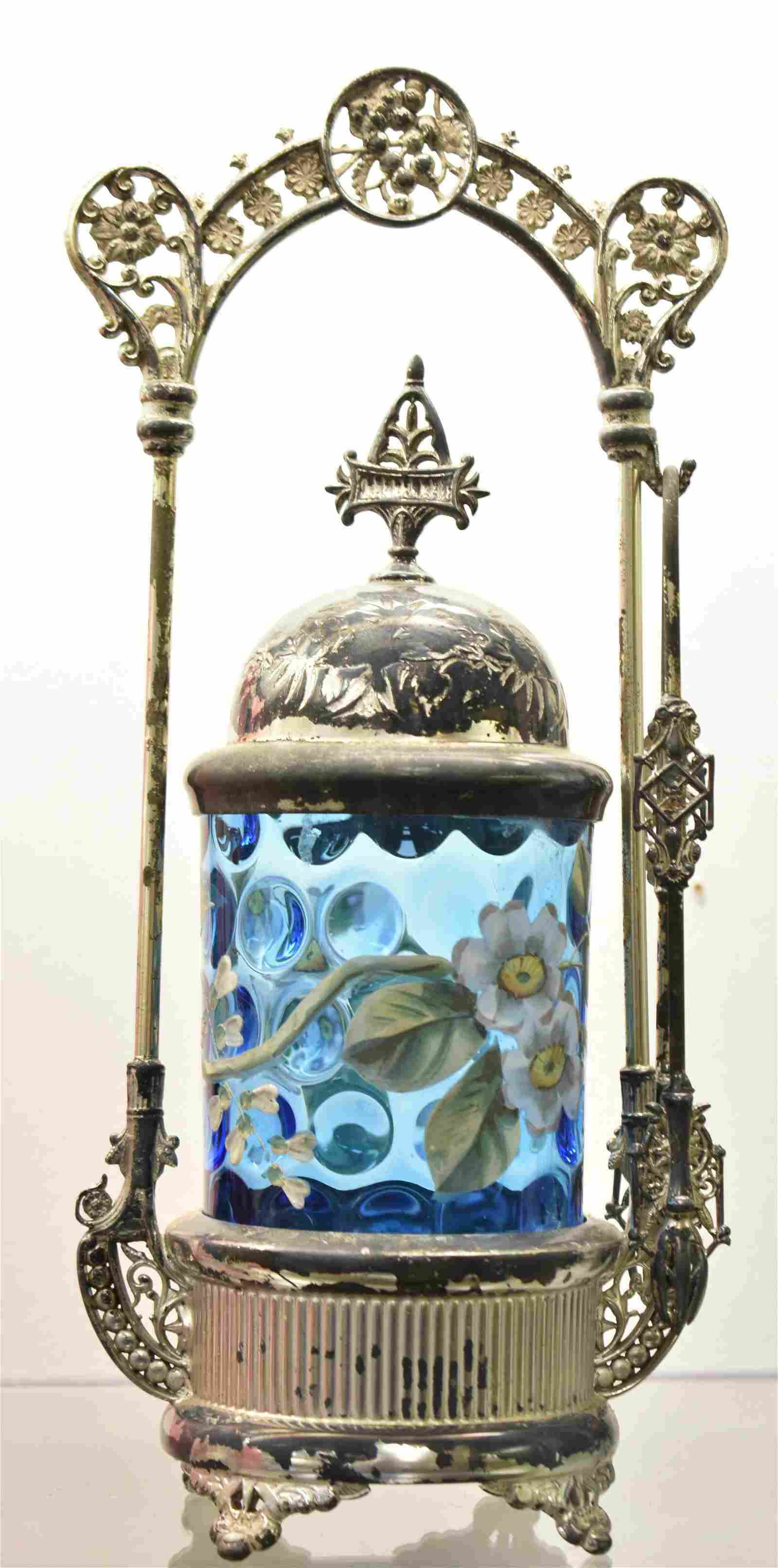 Victorian Pickle Castor with Blue Glass
