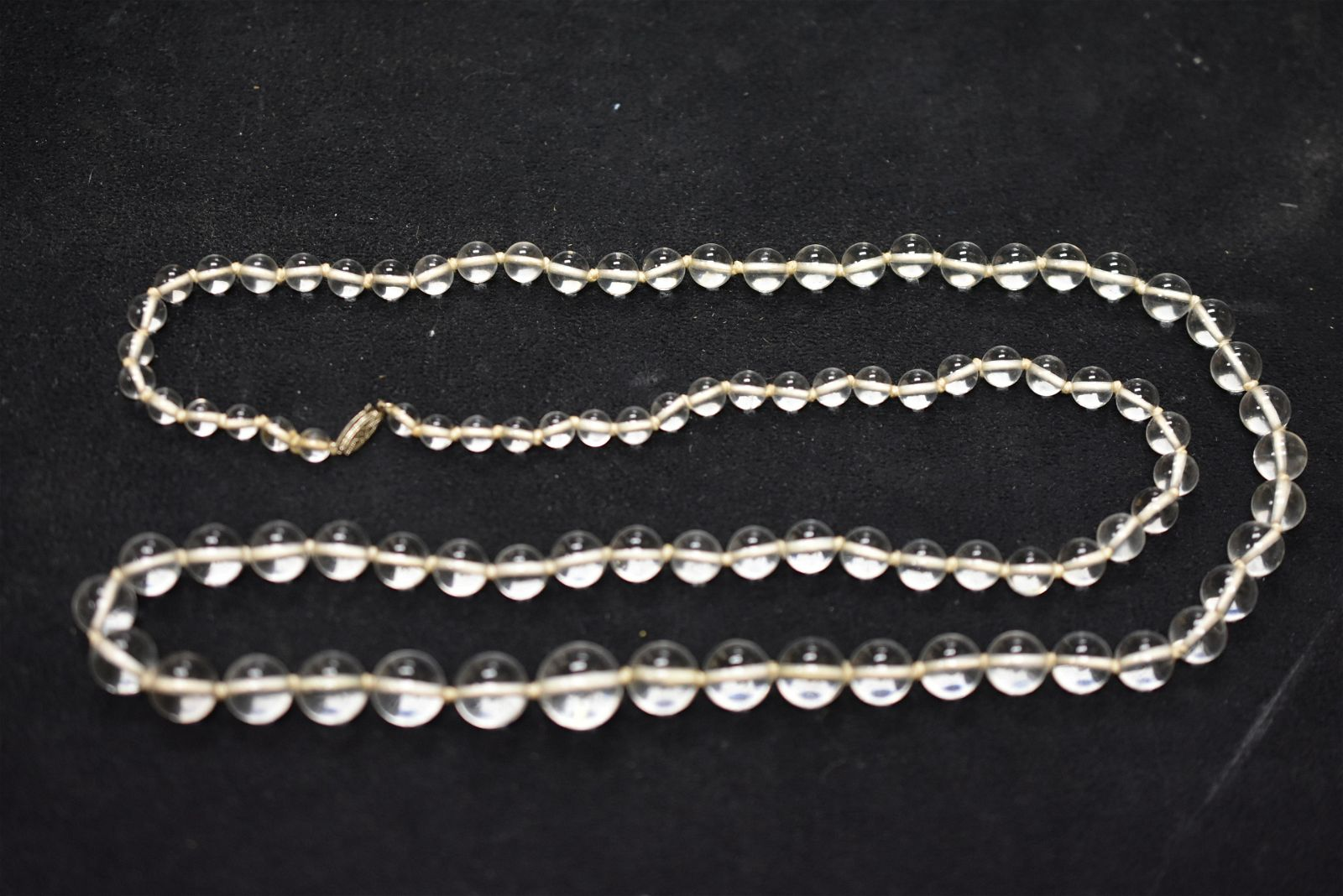Antique Rock Crystal Necklace with 14K Clasp