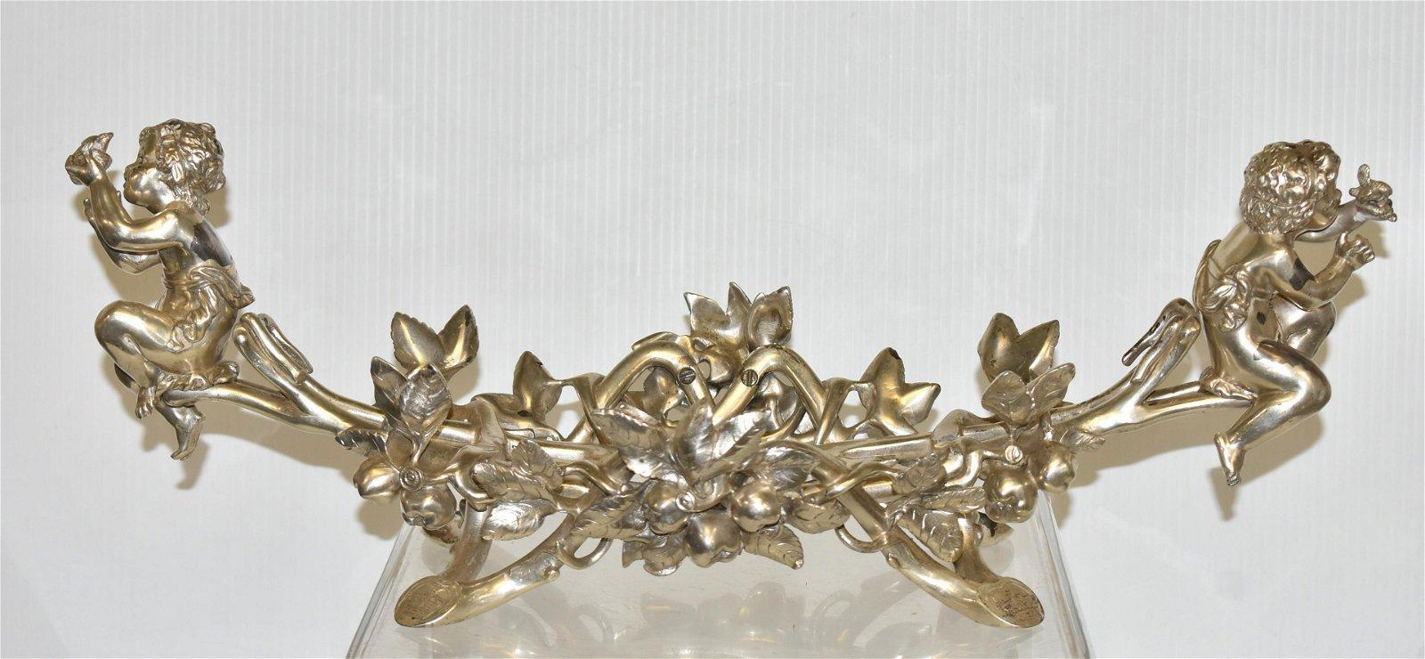 Art Nouveau Silver Plated Putti Fruit Bowl Holder