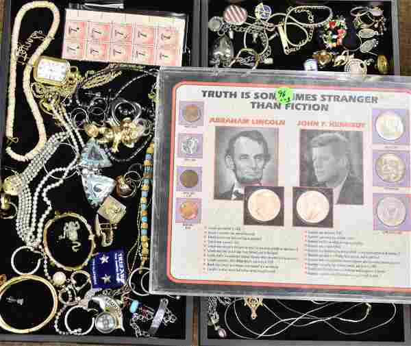 Two Trays of Mixed Costume Jewelry and Coins