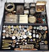Two Trays of Costume Jewelry and Coins