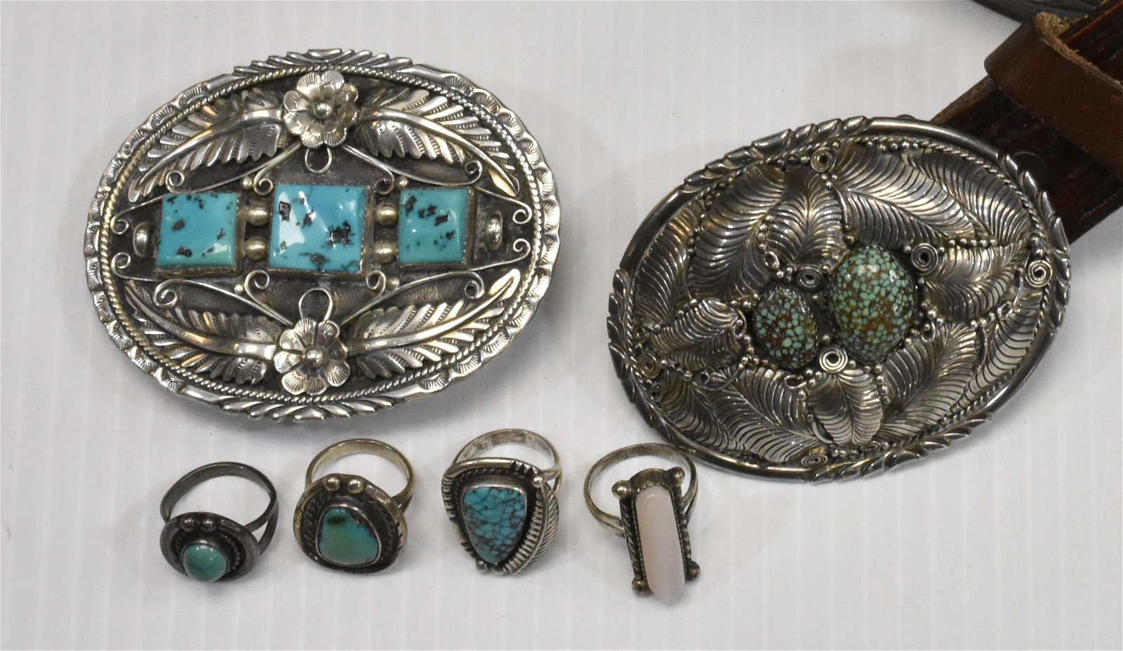 Native American Silver Buckles and Rings