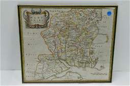 Hand Colored Map of Hampshire by Robert Morden