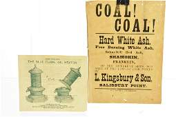 19th C Advertising for Oil Heater and Coal