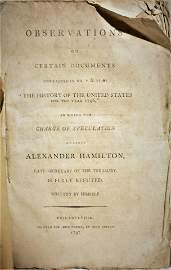 """Observations"" by Alexander Hamilton - 1797"