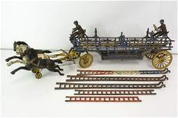 Early 20th C Cast Horse Drawn Hook & Ladder