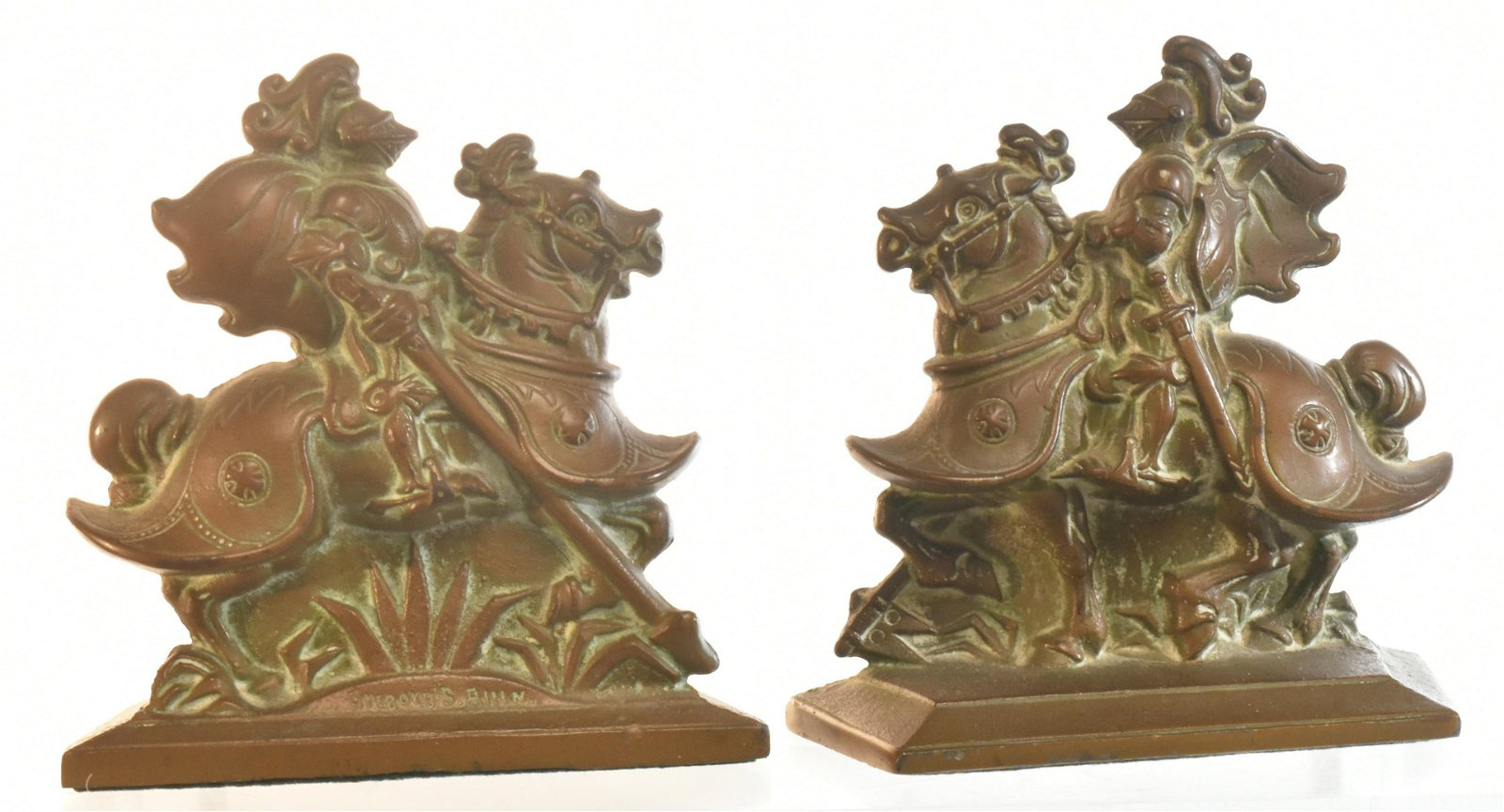 Bronze Jousting Knight Bookends