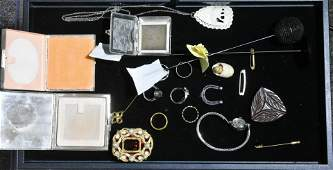 Hat Pins, Compacts, and Jewelry