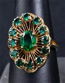 14K Gold Dinner Ring with Green Stones