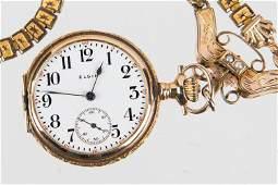 14K Gold Elgin Ladies Pocket Watch w/ Fob