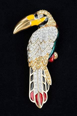 Swarovski Parrot Brooch