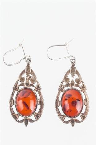 Vintage Amber Sterling Earrings