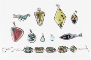 Sterling Pendants and a Bracelet
