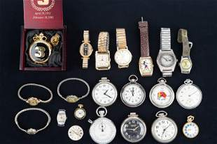Collection of Pocket Watches and Wristwatches
