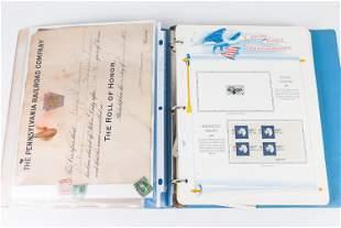 US Commemorative Stamp Album and PRR Cert.