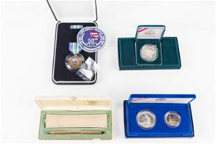 Silver Coins, Cross Pen Set, and Related