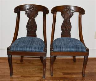 Classical Side Chairs (Carved) Pair