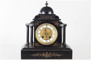 Cast Iron Mantel Clock with Porcelain Face, 19th C