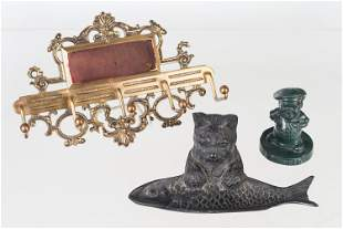 Cast Iron and Brass Figural Grouping