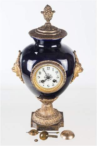 Vintage French Porcelain and Brass Mantel Clock