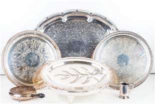 Silver Plated Trays and Butler