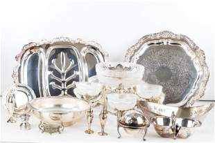 Silver Plated Trays, Bowls, and Footed Servers