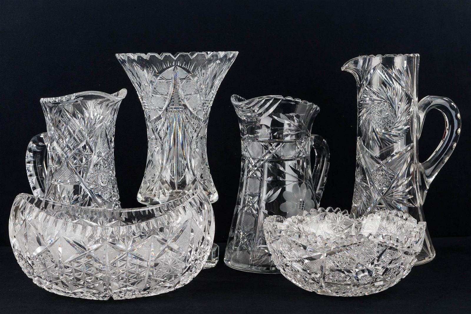 Grouping of Large Cut Glass and Crystal Items