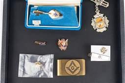 14 k Gold and Sterling Masonic Jewelry