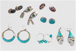 Vintage Sterling and Turquoise Native Am Earrings