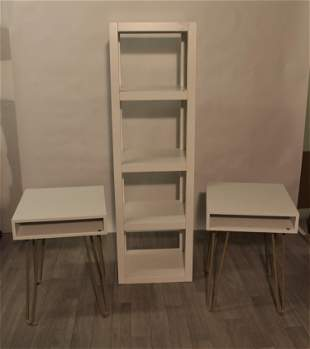 Ikea Shelving and Pair of End Tables