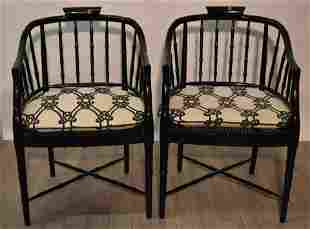 Black Lacquered Bamboo Style Armchair (Pair)