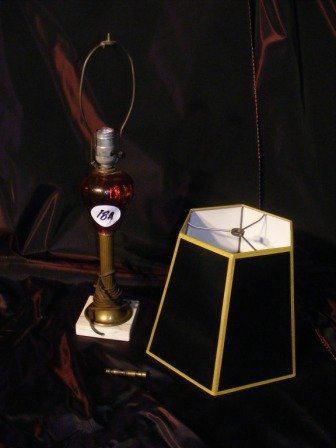 18A: Oil Lamp with Red Vessel & Marble Base