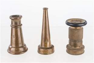 Three Vintage Fire Hose Nozzles