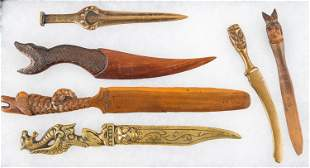 Vintage Brass and Carved Letter Openers
