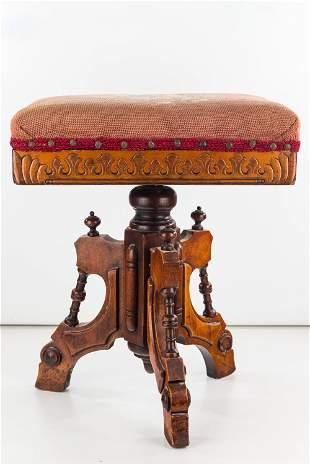 Adjustable Victorian Piano Stool