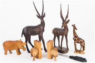 Carved African Animal Figures