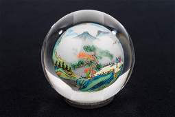 Reverse Painted Japanese Paperweight