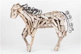 Folk Art Horse Wood & Metal Construction