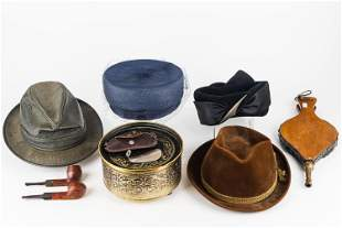 Vintage Hats, Pipes, Buttons, Bellows