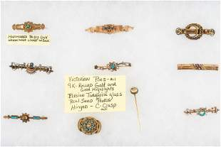 9k Rolled Gold and Other Victorian Pins