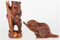Well-Carved Beaver and Bear
