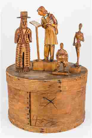 Early 20th Century Cheese Box and Carved Figures